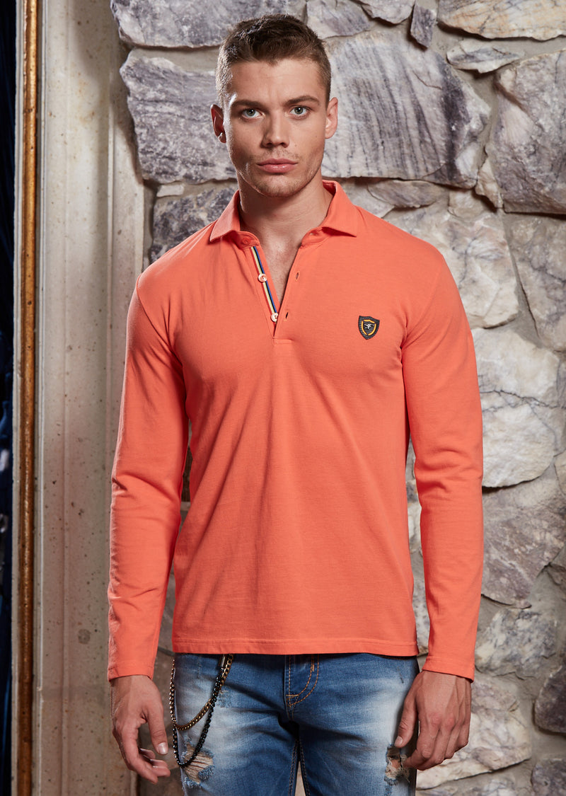 Orange Long Sleeve Polo in Fine Pique