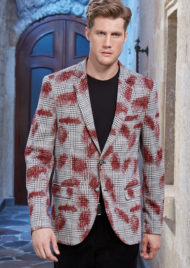 Burgundy Plaid Splash Knit Blazer