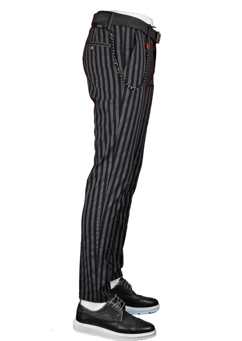 Black-Gray Premium Stripe Stretch Fit Pants