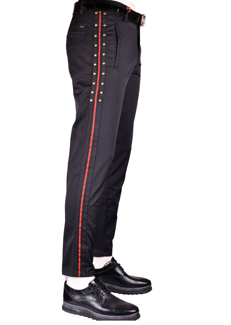 Black Gold Studded with Red Stripe Pants