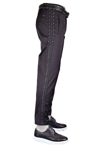 Black Silver Studded with Black Stripe Pants