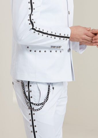 White Silver Studded with Black Stripe Pants
