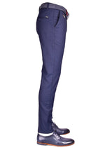 Navy Side Pocket Slim Fit Stretch Pants