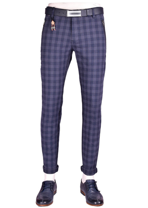 Blue Zipper Plaid Slim Fit Stretch Pants