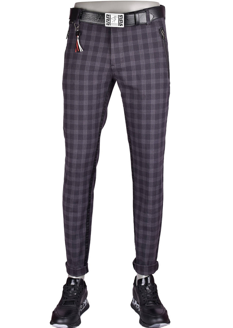 Black Zipper Plaid Slim Fit Stretch Pants