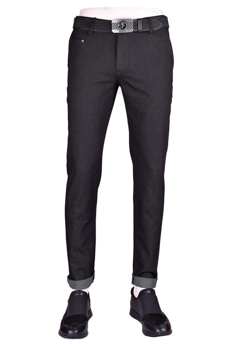 Black Twill Stretch Slim Fit Pants