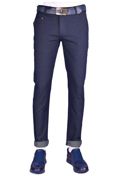 Navy Twill Stretch Slim Fit Pants