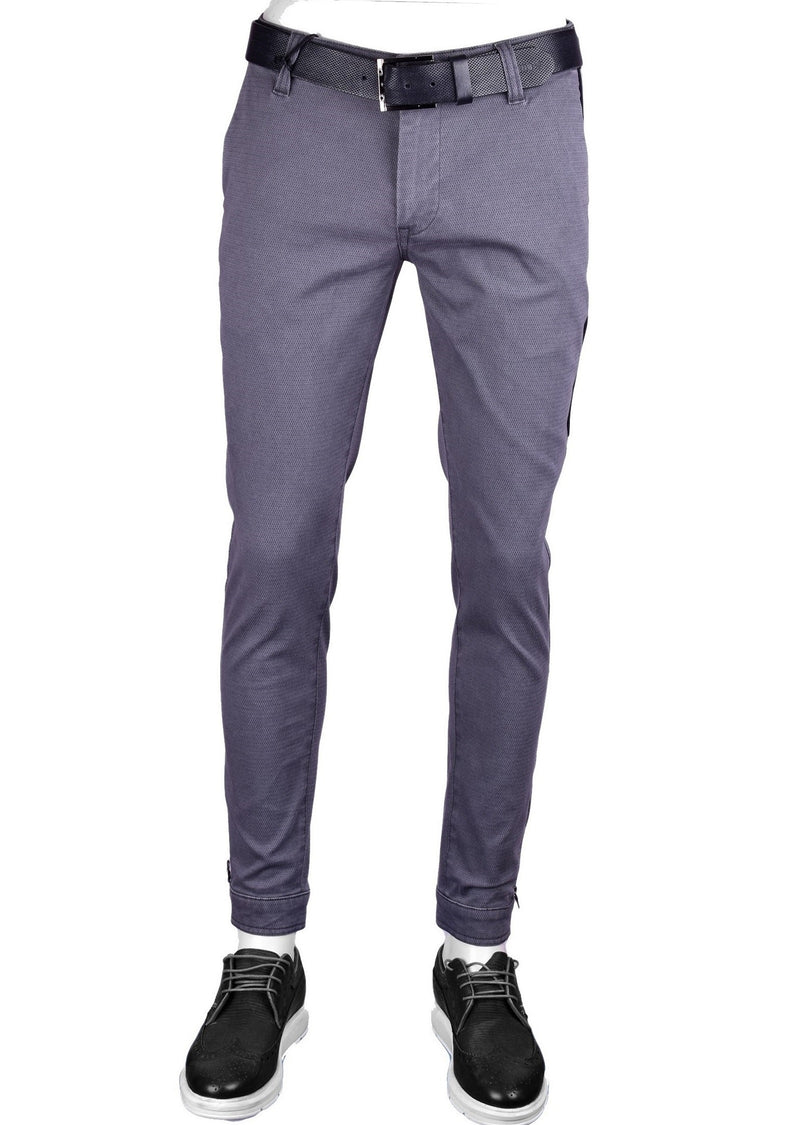 Gray Ankle-Zip Side Pocket Stretch Pants