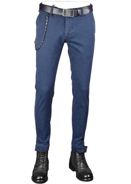 Blue Ankle-Zip Side Pocket Stretch Pants