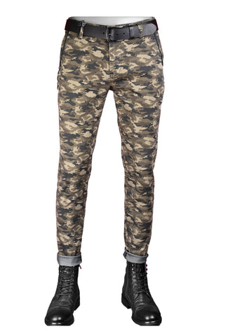 "Camouflage ""Marcio"" Side Zipper Tech Stretch Fit Pants"