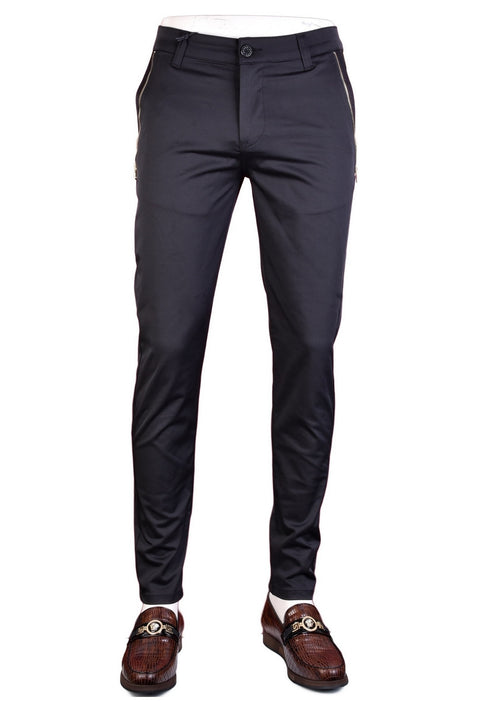"Black Gold ""Marcio"" Side Zipper Tech Stretch Fit Pants"