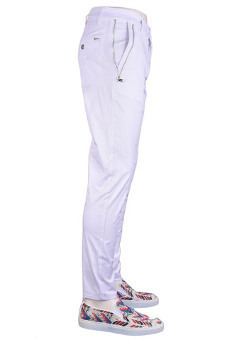 "White Silver ""Marcio"" Side Zipper Tech Stretch Fit Pants"