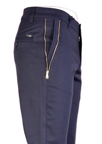 "Navy Gold Zipper ""Marcio"" Tech Stretch Fit Pants"