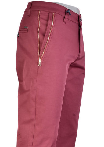 "Burgundy Gold Zipper ""Marcio"" Tech Stretch Fit Pants"