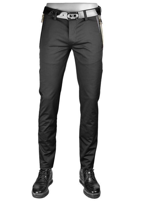 Black Gold Thick Zipper Tech Stretch Fit Pants