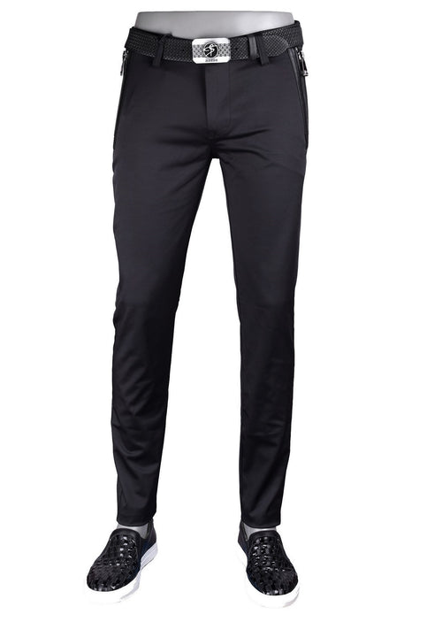 Black Silver Thick Zipper Tech Stretch Fit Pants