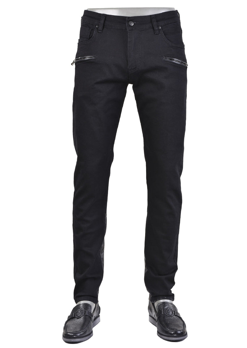 "Black ""Two Zippered Pocket"" Jeans"