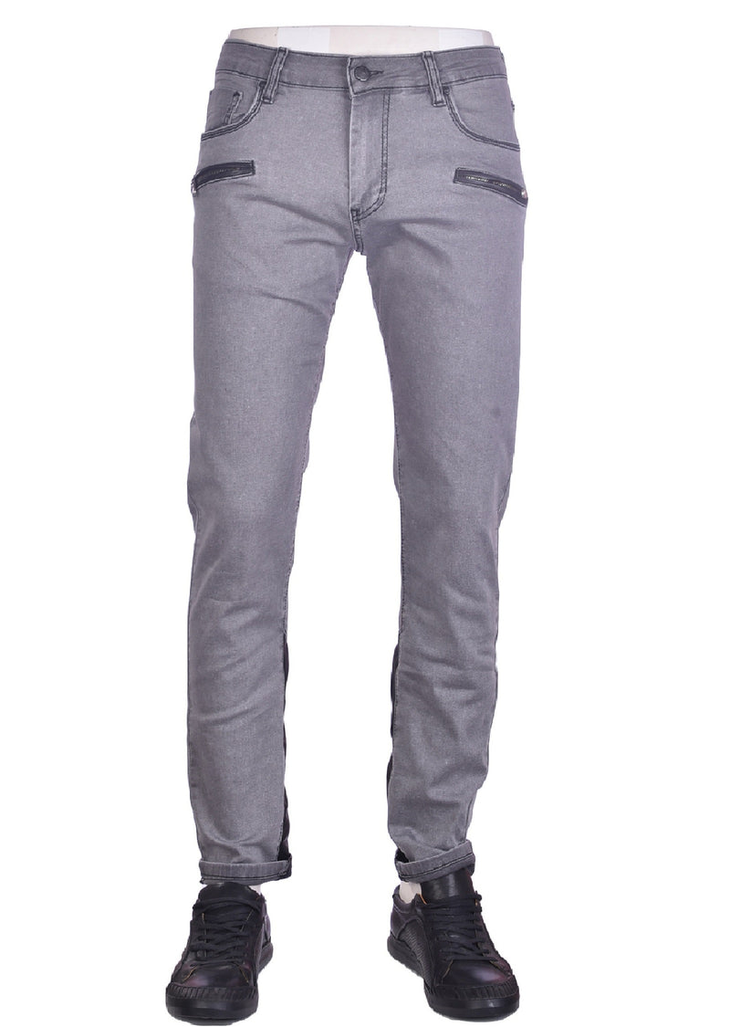 "Gray ""Two Zippered Pocket"" Jeans"