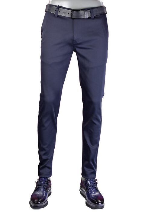 "Navy ""Star Studded"" Tech Stretch Fit Pants"
