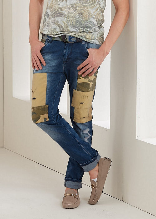 Blue Camouflage Patched Slim Fit Jeans