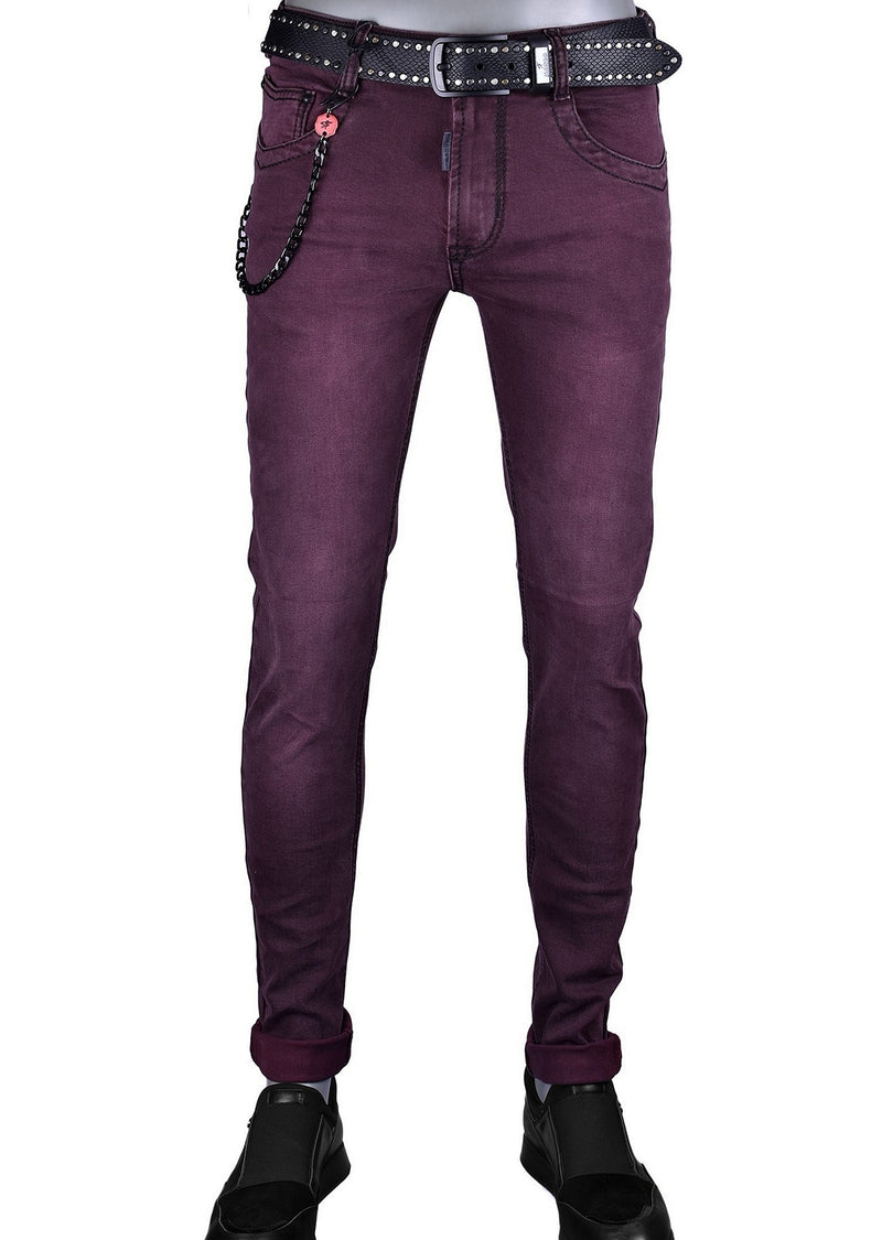 Burgundy Slim Straight Fit Jeans