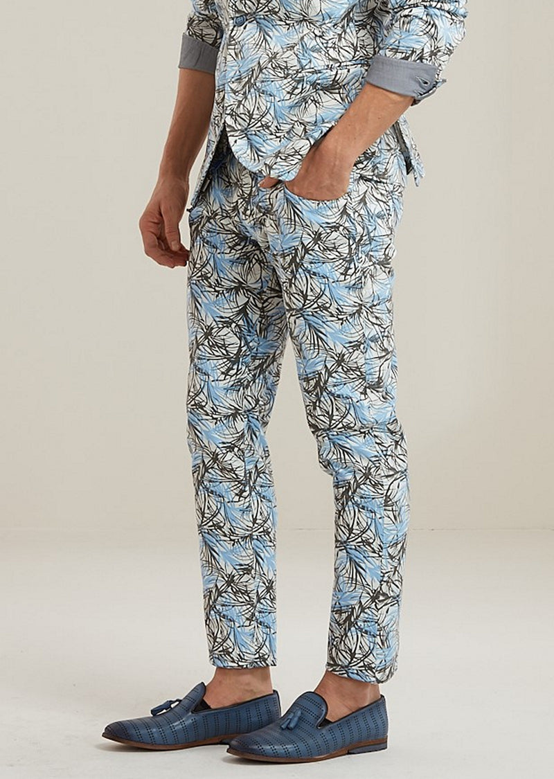 Blue Floral Stretch Cotton Pants
