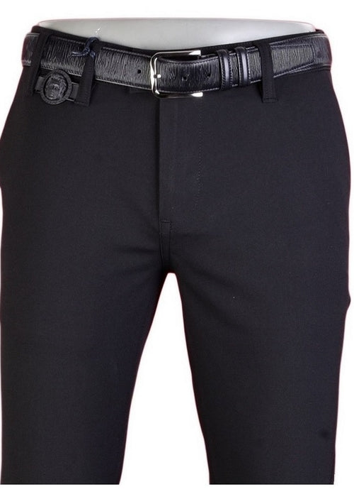 "Black ""Alexander"" Buckle Stretch Pants"