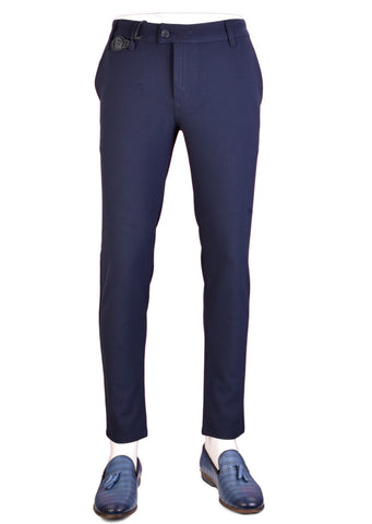 "Navy ""Alexander The Great Buckle"" Stretch Pants"