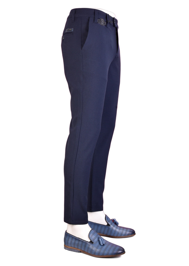 "Navy ""Alexander"" Buckle Stretch Pants"