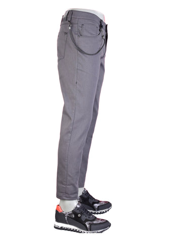 Gray Textured Casual Stretch Pants