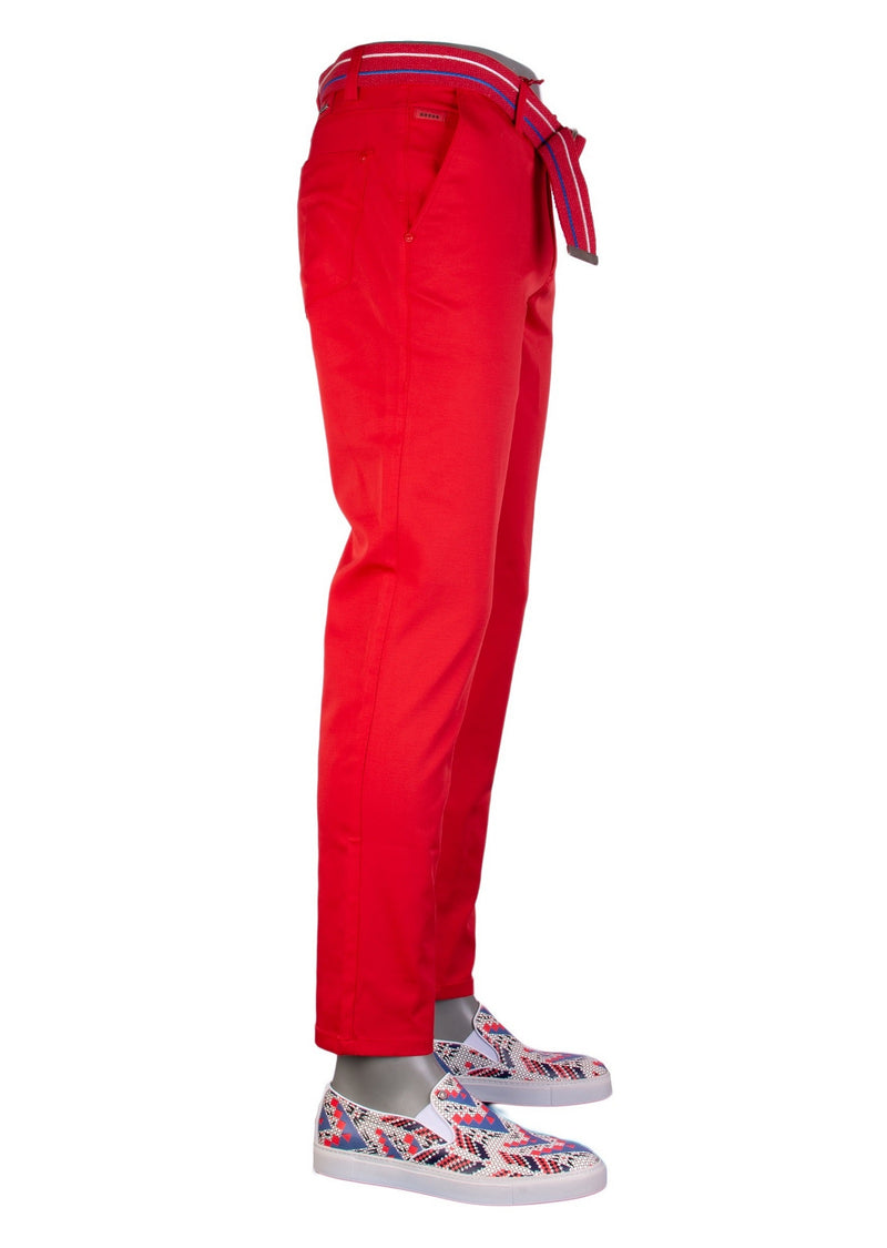 Red Tech Stretch Slim Fit Pants