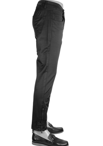 Black Silver Zipper Tech Stretch Fit Pants