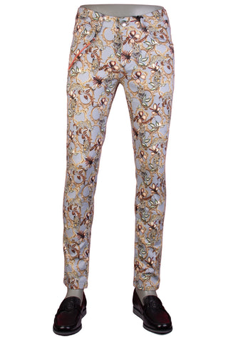 Tiger Floral Print Stretch Cotton Pants