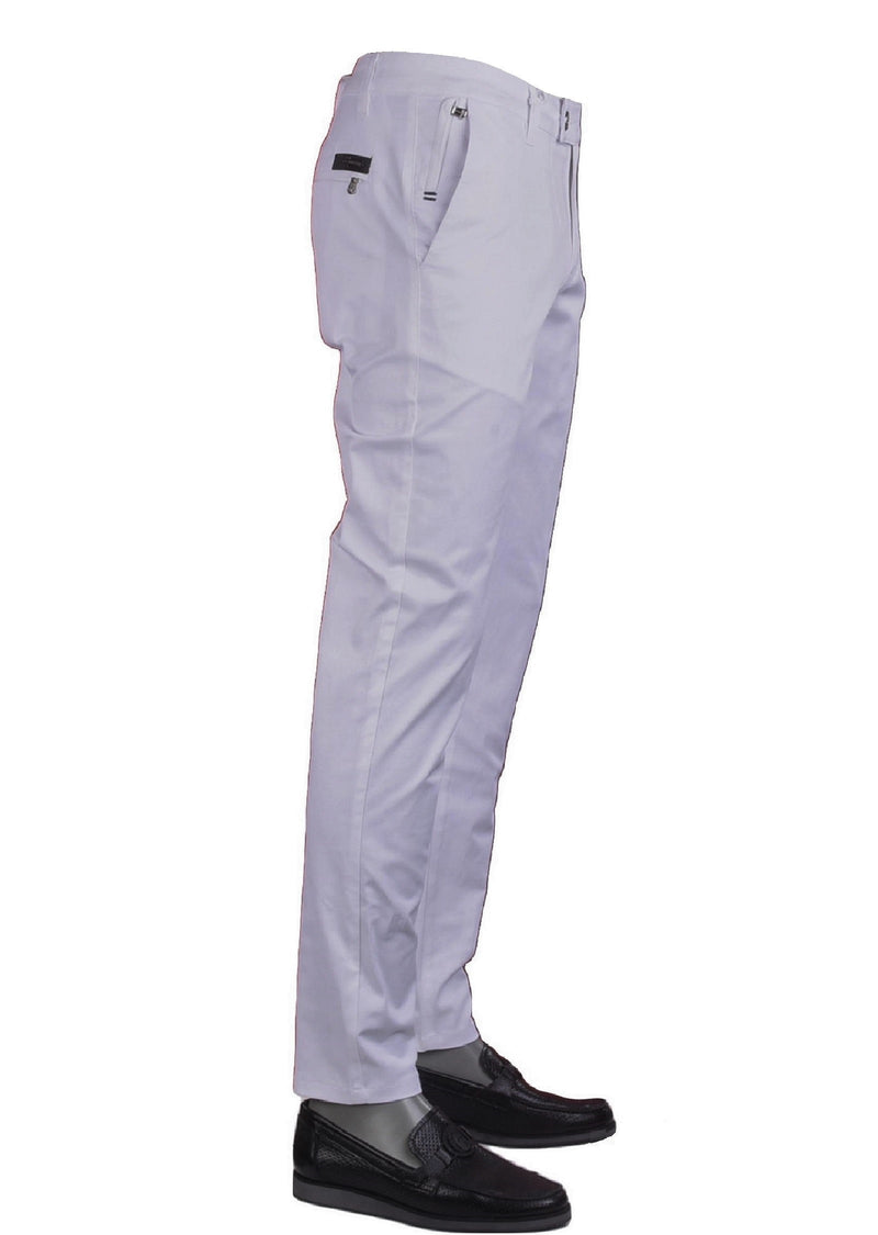 White Side Pocket Zipper Tech Pants