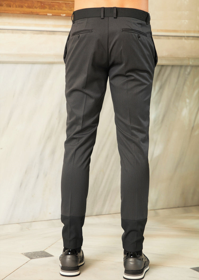 Gray Stripe Stretch Slim Fit Pants
