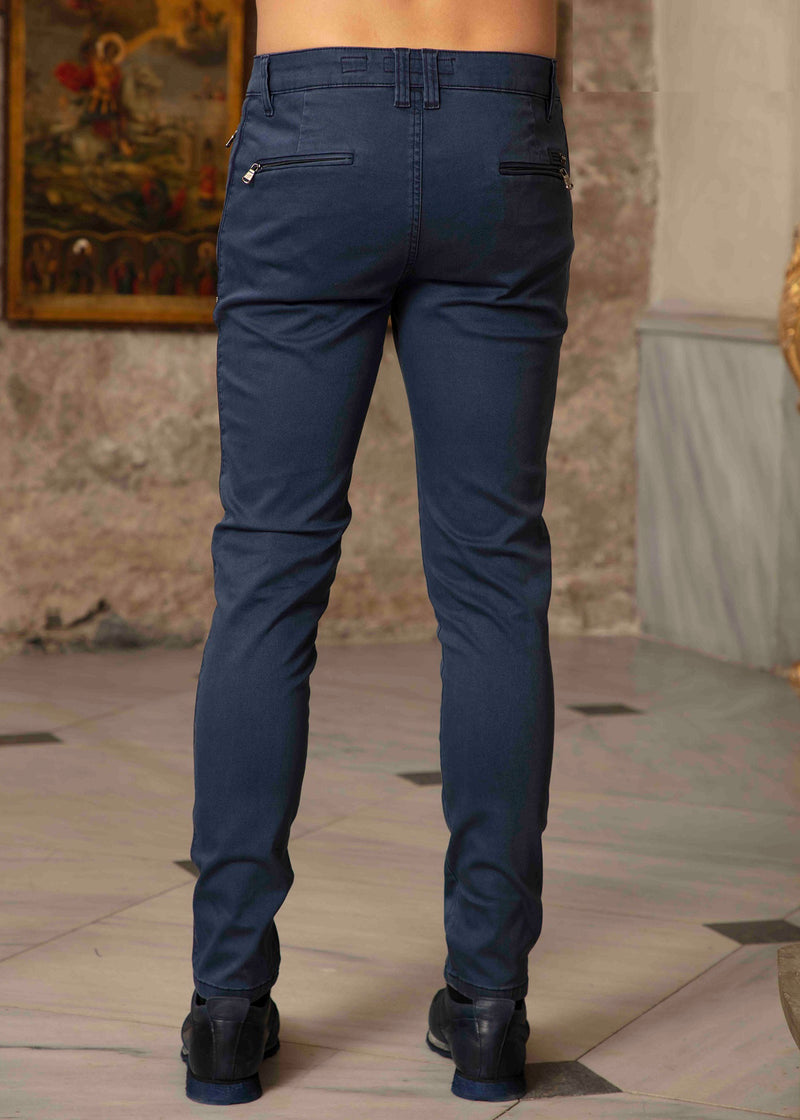 Navy Side Zipper Travel Pants