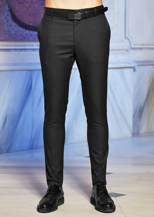 Black Tassel Detailed Stretch Pants