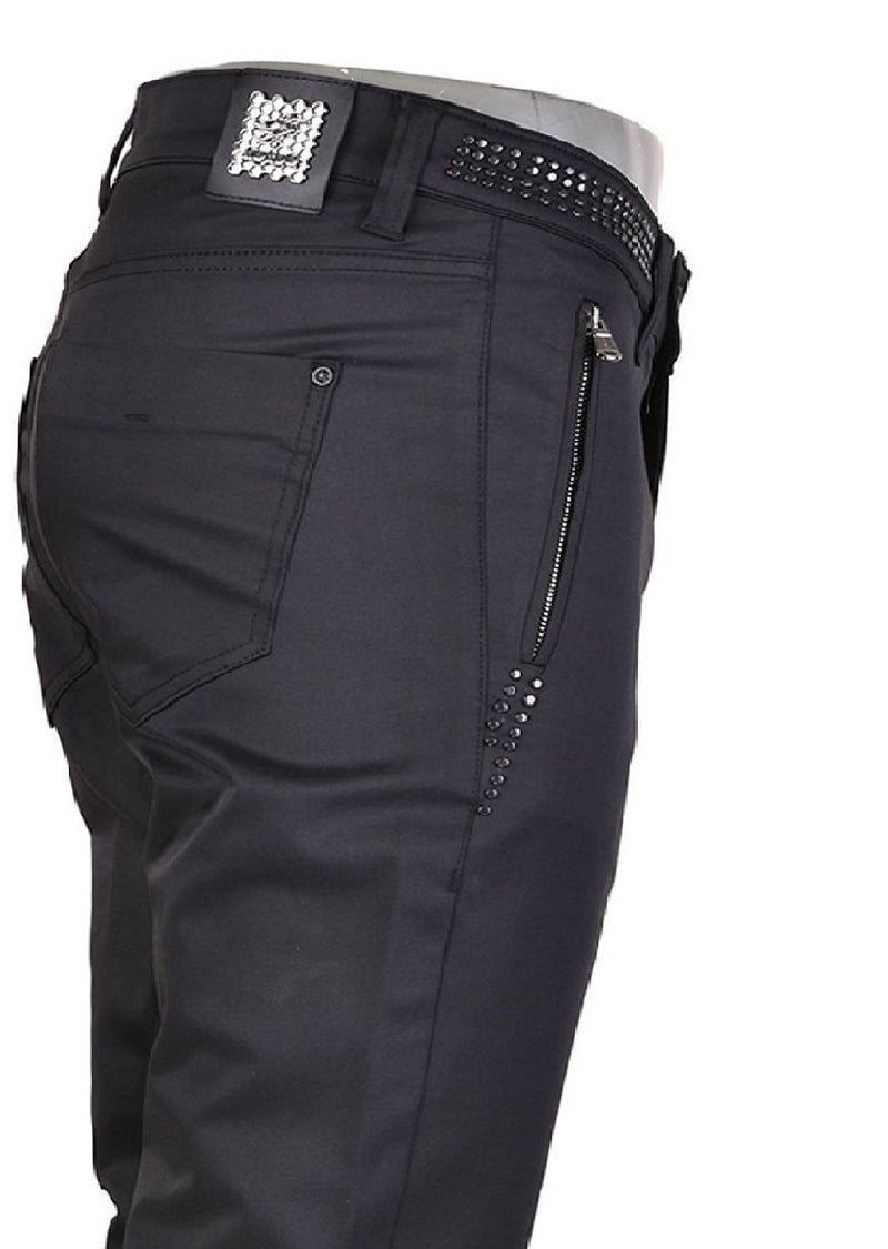 Black Studded Stretchy Zipper Pants