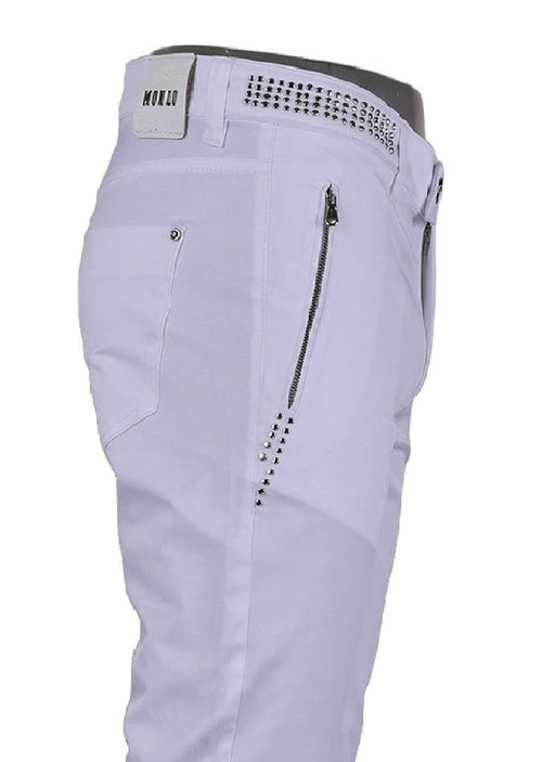 White Studded Stretchy Zipper Pants