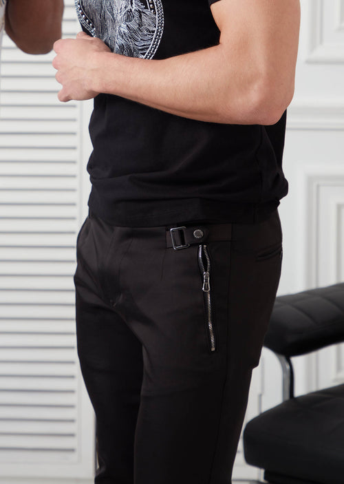 Black Silver Buckle Zipper Pants
