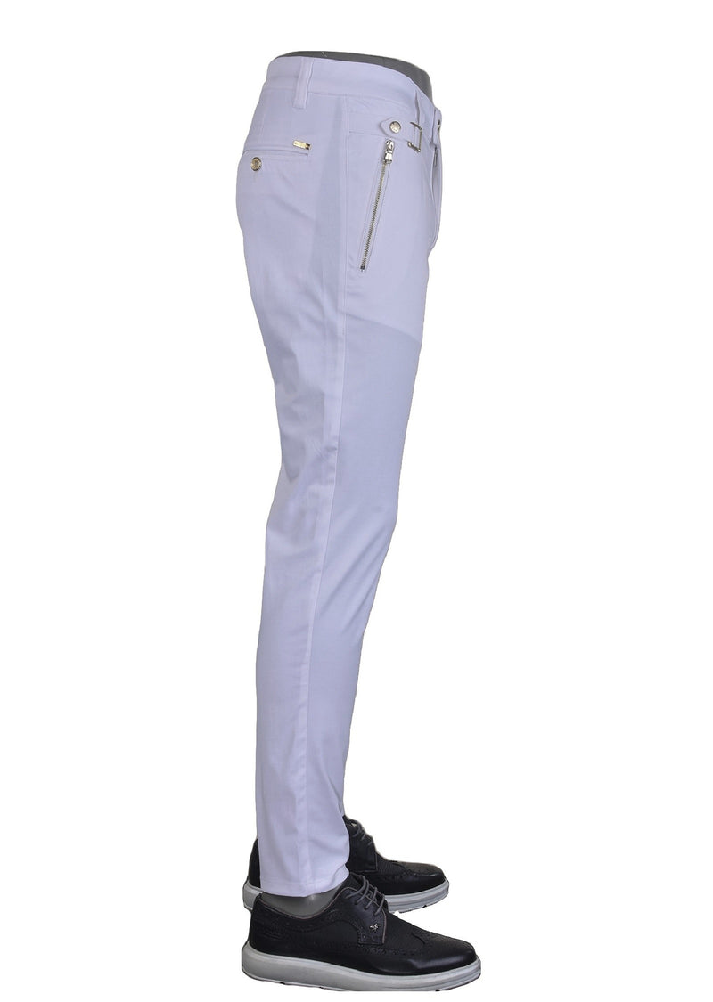 White Gold Buckle Zipper Pants