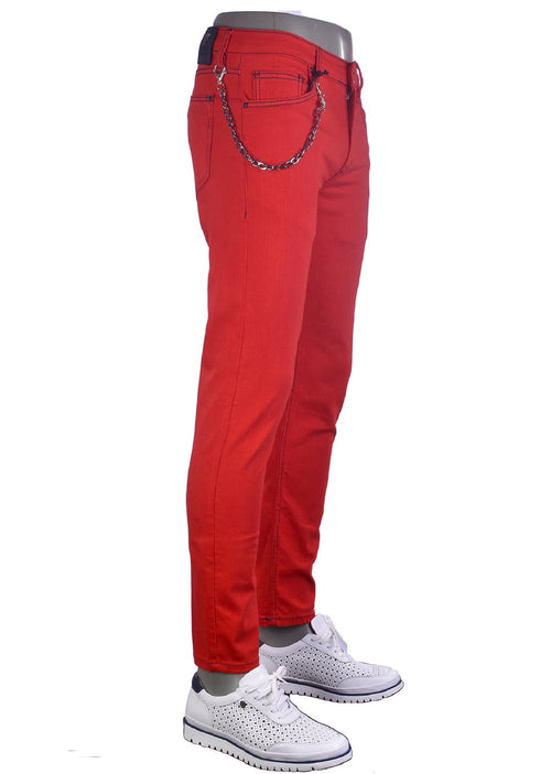 Red Luxe Slim Fit Jeans