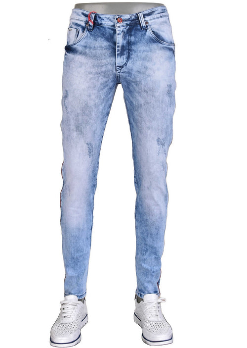 Blue Side Zipper Detailed Jeans