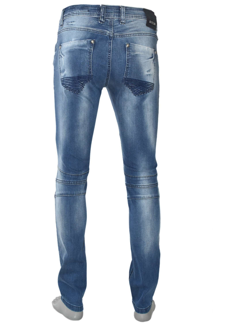 Light Wash Biker Zipper Jeans