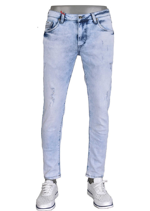 Blue Pleat Detailed Jeans