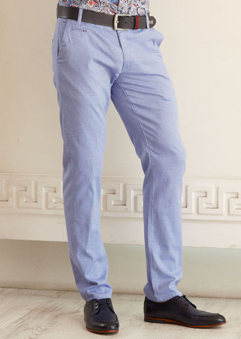 Blue Slim Fit Stretch Cotton Pants