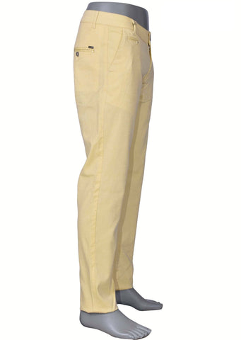 Yellow Slim Fit Stretch Cotton Pants