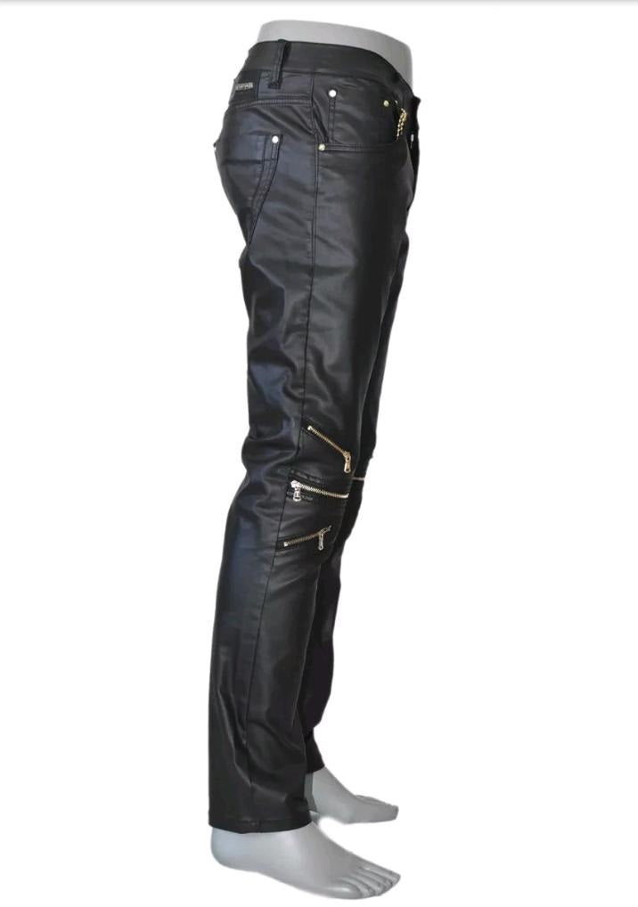 Black Moto Biker Gold Zip Pants