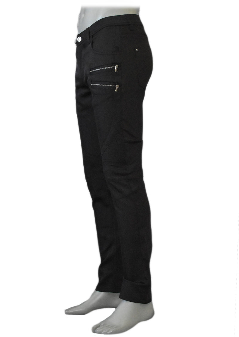 Double Gold Zipper Black Sport Pants