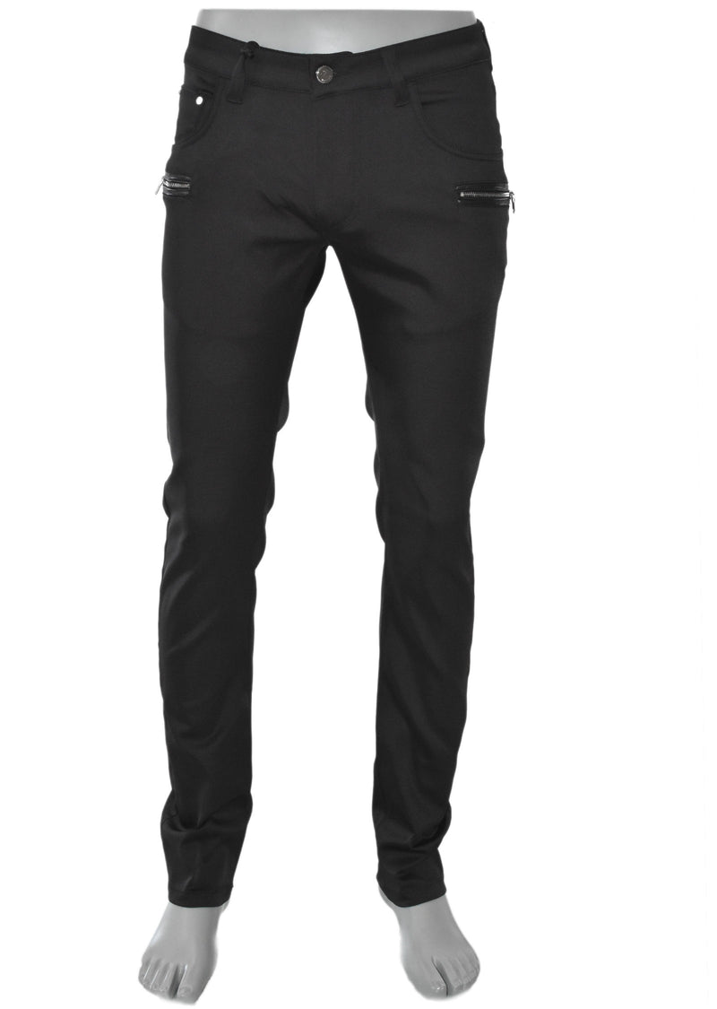 Black Gold Zipper Tech Stretch Fit Pants